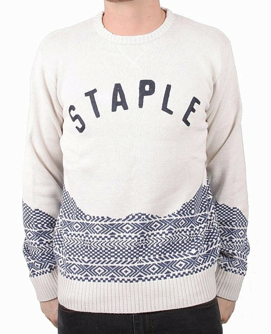 Staple Mens Cream Skylight Knitt 100% Cotton Crewneck Sweater NWT