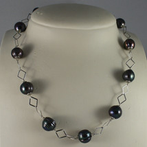 .925 SILVER RHODIUM NECKLACE WITH GRAY PEARLS AND RHOMBUS MESH image 1