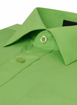 Omega Italy Men's Long Sleeve Solid Regular Fit Apple Green Dress Shirt - 4XL image 2