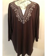 WHITE STAG Women's Brown Embroidered V Neck Tunic Style Top 3/4 Sleeves ... - $1.49