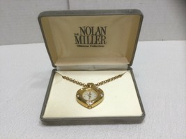 Nolan Miller Heart Shaped Crystal Accents Gold Tone Watch Pendant Neckla... - $22.97