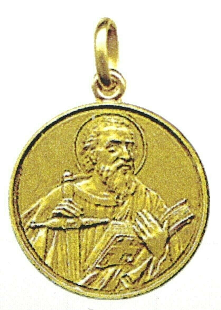 SOLID 18K YELLOW GOLD ROUND MEDAL, SAINT PAUL, PAOLO, DIAMETER 17mm