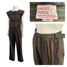 Vintage Stripe Playsuit Set / Sleeveless Shirt Top & Belted Pants / Medium - $62.30