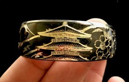 ASIAN Themed Sterling Silver Hand Engraved CUFF BRACELET - 7/8 inch wide - $125.00