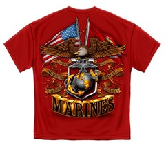 New Marines Double Flag T Shirt American And Usmc Red Tee - $18.99+