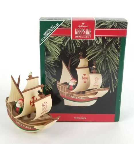 "Primary image for 1992 Hallmark Keepsake Christopher Colmbus ""Santa Maria"" Handcrafted Ornament"