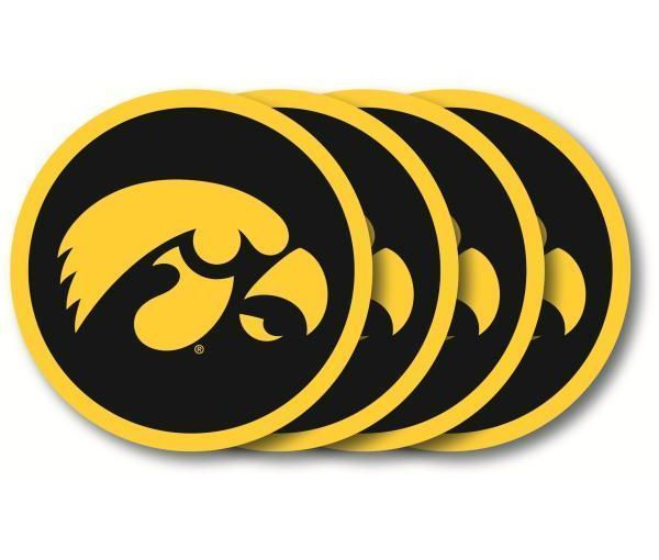 IOWA HAWKEYES 4 PACK HEAVY DUTY VINYL DRINK COAFLORIDASTER SET NCAA