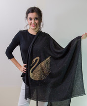 Black & Gold Crystal Duck Pure Wool Stole Scarf - $30.00