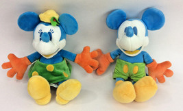 Disney World Mickey Minnie Mouse Neon Bright Colors Set Pair Plush Stuff... - $32.40