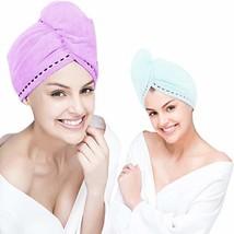 Orthland Microfiber Hair Towel Drying Wrap [2 Pack] Hair Turban Head Wrap with B image 1
