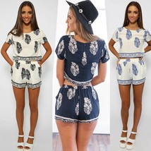Women Casual Print O-Neck Short Sleeve Crop Tops Elastic Waist Shorts Tw... - $24.48