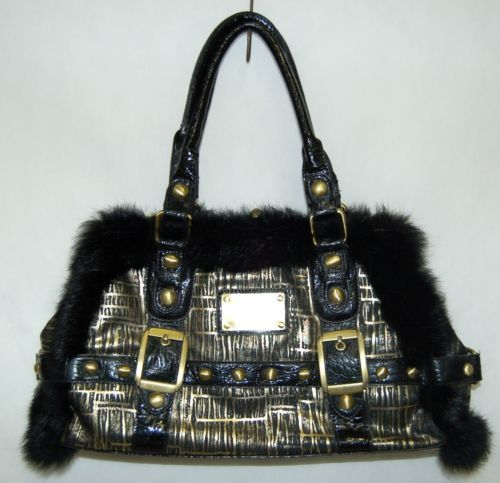 Ins Brand Black Bronze Medium Sized Vintage Clasp Purse With Fur Like Studds