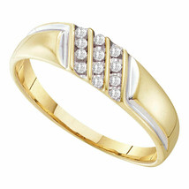 10k Yellow Gold Mens Round Channel-set Diamond Diagonal Triple Row Weddi... - $119.19