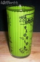 1960'S Retro Hazel ATLAS--GAY Fad Green Florida Souvenir Glass - $32.45