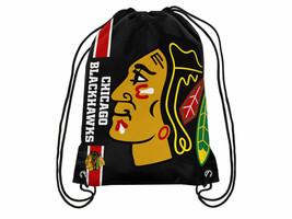 Chicago Blackhawks  Big Logo NHL Hockey Nylon Drawstring Back Sack Gym Bag - $12.34