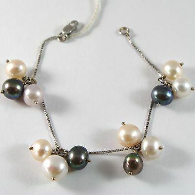 White Gold Bracelet 750 18k, Grapes, Pearls Peach, Lavender, White, Black