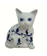 Villeroy Boch Sitting Cat Gallo Design Royal Hand Painted Blue White - $29.70