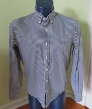 J Crew Factory Size LARGE L Slim Washed Shirt Navy Gingham Button Front Top - $18.67