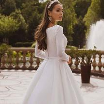 Elegant Solid Long Sleeve Satin Long Sleeve Lace Winter Wedding Gown image 4