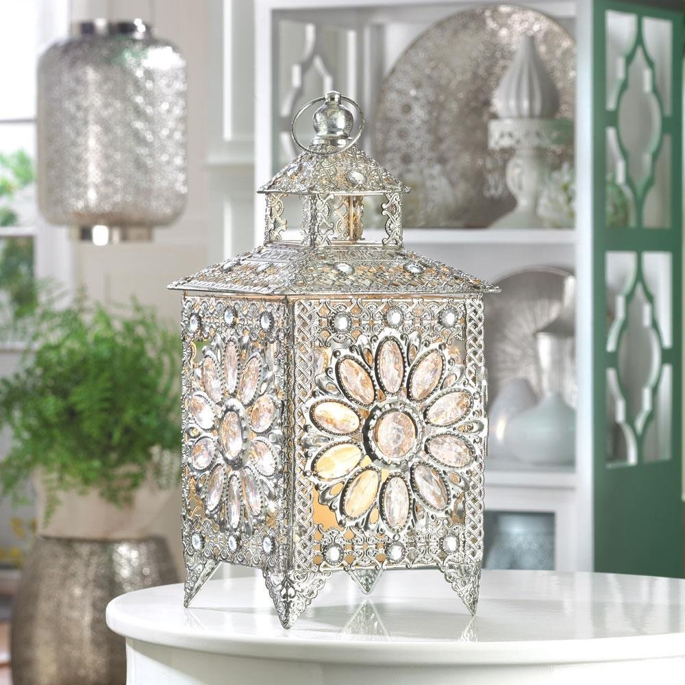 Candle Holder Lantern, Decorative Indoor Crown Jewels Metal Candle Lamp,  Silver image 4