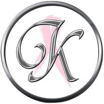 Monogram Alphabet Silver Letter K Subtle Pink Breast Cancer 18MM-20MM Snap Charm - $5.95