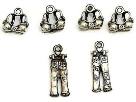Silver Bras and Jeans Charms, Set of 5
