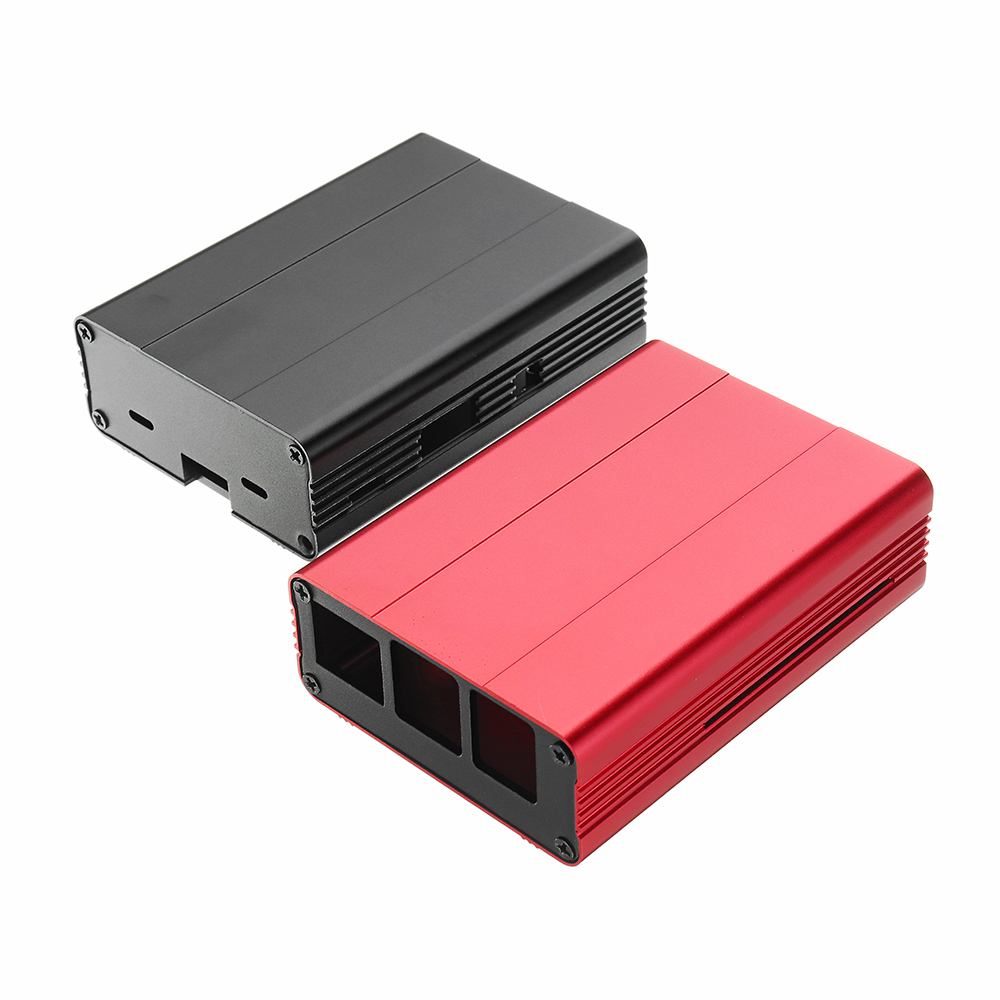 Black/Red Aluminum Alloy Protective Enclosure Case For Raspberry Pi 3 Model B+(p