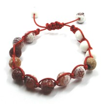 SHAMBALLA BRACELET, WHITE & BROWN AGATE, WORKED 925 ROSE STERLING SILVER SPHERES image 1