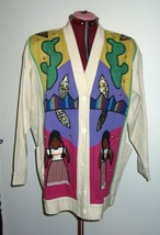 c99 Victor Camarena Mexican Mexico Folk Art Embroidered Ladies Jacket Co... - $64.35