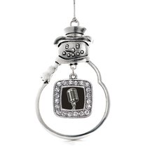 Inspired Silver Microphone Classic Snowman Holiday Christmas Tree Ornament With  - $14.69