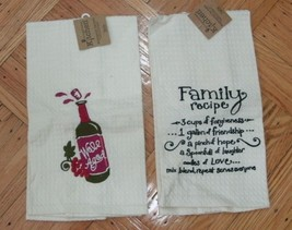 Kay Dee Designs Embroidered Waffle Weave Kitchen Tea Towels - lot of 2 - $18.99
