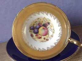 Vintage 1950's Aynsley D. Jones fruit tea cup, Blue gold bone china teacup - $157.41