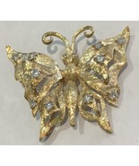 14k Yellow Gold Diamond Butterfly Brooch G Color VS Clarity - $695.00