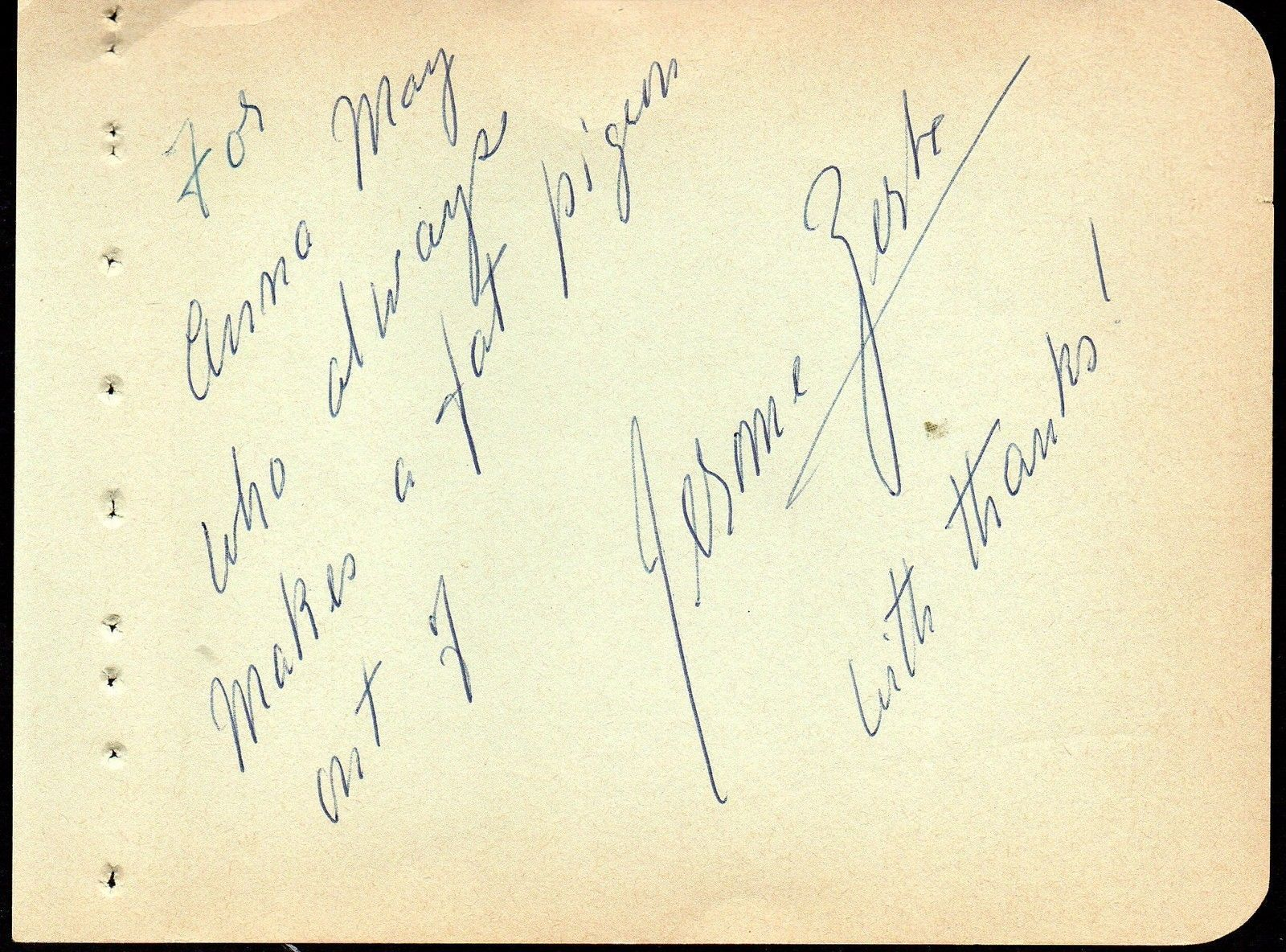 "JEROME ZERBE Autograph signed on album page. Famed photographer ""paparazzo"""