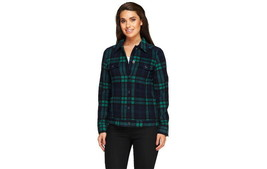 Isaac Mizrahi Live! Plaid Button Front Fleece Jacket PINE GREEN LARGE A2... - $47.77