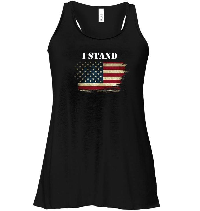 I Stand and Dont Kneel For Anthem USA Flag Flowy Racerback Tank