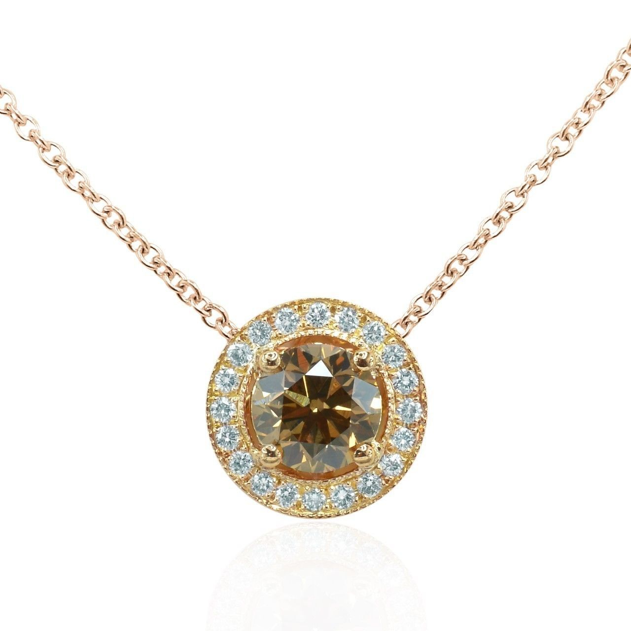 0.83Cts Yellow Diamond Halo Pendant Necklace Set in 18K  Rose Gold GIA Cert