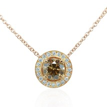 0.83Cts Yellow Diamond Halo Pendant Necklace Set in 18K  Rose Gold GIA Cert - $2,900.70