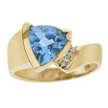 1.55 Carat Blue Topaz & Diamond Art Deco Ring 14K Yellow Gold - £309.44 GBP