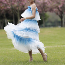 Blue Tiered Tulle Skirt Outfit High Waisted Long Tulle Skirt Holiday Tulle Skirt image 11