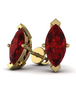 2.00 Cttw Marquise Shape Ruby Solitaire Stud Earrings In 10K Yellow Gold - $126.71