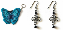 Belle Trendz Blue Butterfly Purse With Keychain and Black Double Beaded ... - $9.99