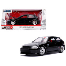1997 Honda Civic Type R Glossy Black with Carbon Hood JDM Tuners 1/24 Diecast Mo - $30.97
