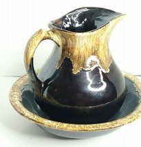 Vintage RRP Co Roseville Pottery Chocolate Brown Drip Glaze Bowl & Pitcher  - $56.09