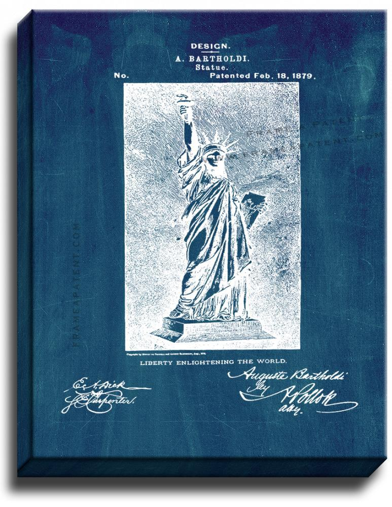 Primary image for Statue of Liberty Patent Print Midnight Blue on Canvas