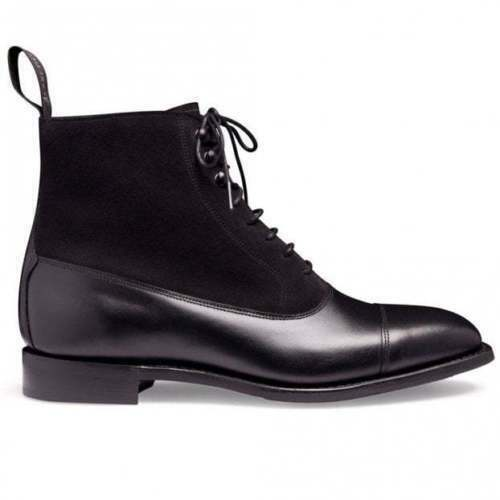 Handmade Men's Black Leather & Suede High Ankle Lace Up Boots