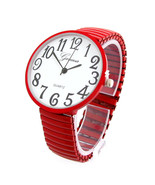 Red Super Large Round Face Easy to Read Unisex Geneva Stretch Band Watch - $23.74