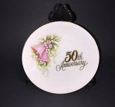 "Vintage 1988 Enesco Made In Japan 50th Anniversary Pink Bells Mini Plate 4.25"" - $12.99"
