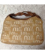 Miu Miu Brown Linen-Brown Leather Hand Bag 12in x 10in x 5in - $237.45
