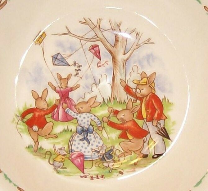 Primary image for Royal Doulton Bunnykins- Child's Cereal Bowl -Flying Kites - SF133 VGUC